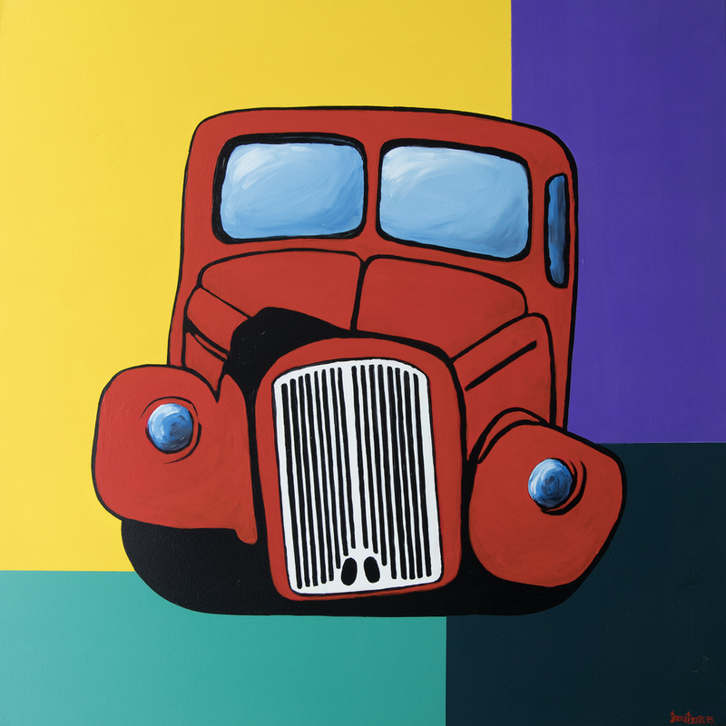 (CreativeWork) 'That Lucky Old Truck' - large, square, red truck, modern painting by Bruce Peebles. Acrylic Paint. Shop online at Bluethumb.