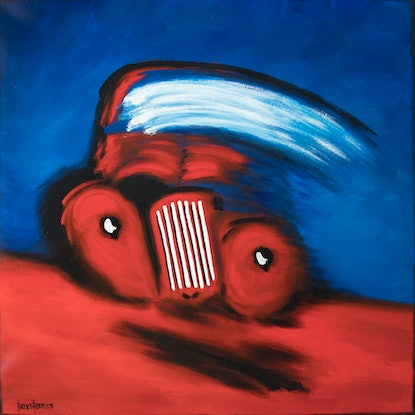 (CreativeWork) 'Rolling On Red' - large, square, truck, red, blue, expressive painting by Bruce Peebles. Acrylic Paint. Shop online at Bluethumb.
