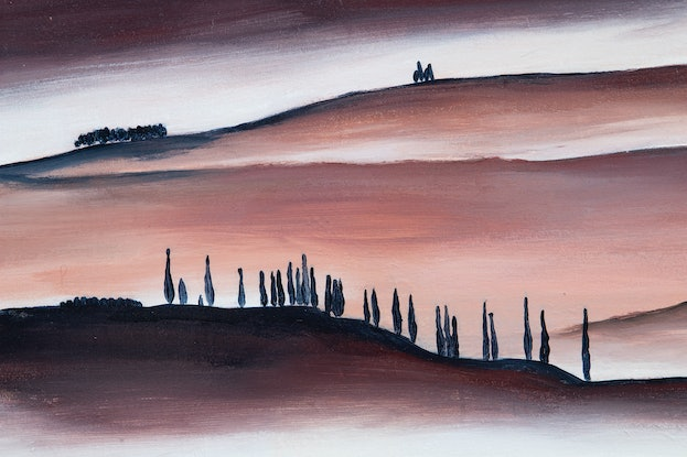 (CreativeWork) 'Early Morning Tuscany' - large, coral, pink, Italian landscape by Bruce Peebles. Acrylic Paint. Shop online at Bluethumb.