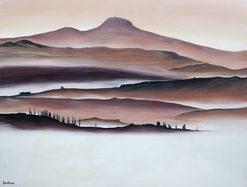 (CreativeWork) 'Early Morning Tuscany' by Bruce Peebles. acrylic-painting. Shop online at Bluethumb.