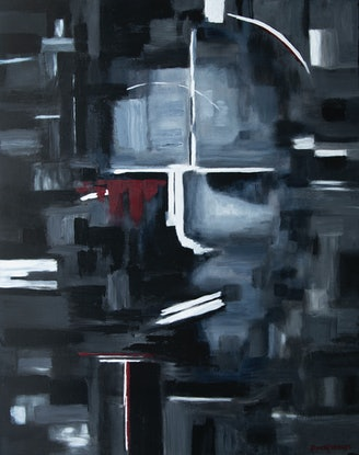 (CreativeWork) 'Inner Self' - large, figurative, black and white abstract painting by Bruce Peebles. Acrylic Paint. Shop online at Bluethumb.