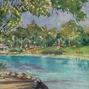 (CreativeWork) Redcliffe Lagoon by Ajay Lack. Watercolour Paint. Shop online at Bluethumb.