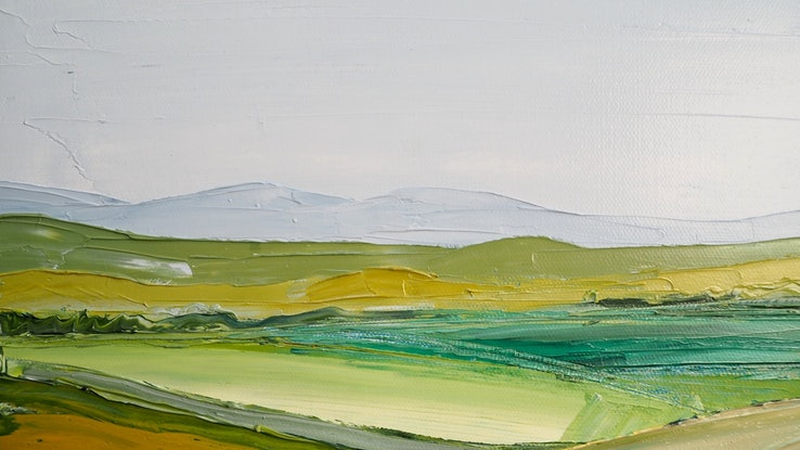 (CreativeWork) Abstract Fields - Australian Landscape  by Michelle Keighley. Oil Paint. Shop online at Bluethumb.