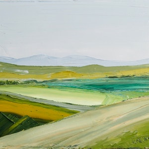 (CreativeWork) Abstract Fields - FRAMED Australian Landscape  by Michelle Keighley. Oil Paint. Shop online at Bluethumb.