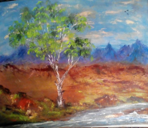 (CreativeWork) Outback Serenity by Robin Sweeney. Acrylic Paint. Shop online at Bluethumb.