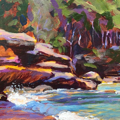 (CreativeWork) Castle Rock Study by Kate Gradwell. Acrylic Paint. Shop online at Bluethumb.