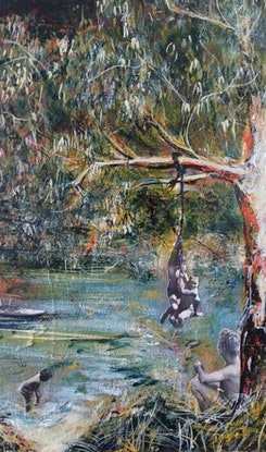 (CreativeWork) Time spent at the Creek by Debra Dougherty. Mixed Media. Shop online at Bluethumb.