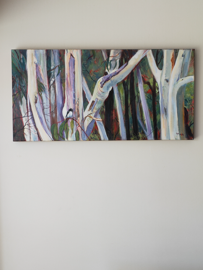 (CreativeWork) Willy Wagtail and Gumtrees. Tree Series by Lyn Watts. Acrylic Paint. Shop online at Bluethumb.