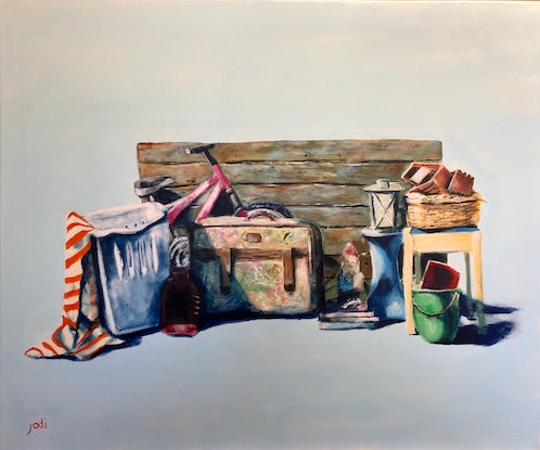 (CreativeWork) KERBSIDE COLLECTION- A STILL LIFE by Jodi Bowen. Acrylic Paint. Shop online at Bluethumb.