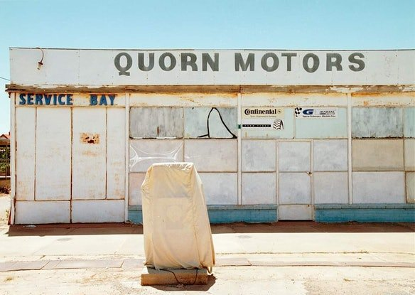(CreativeWork) Ghost Town Motors Ed. 1 of 2 by Alex Frayne. Photograph. Shop online at Bluethumb.