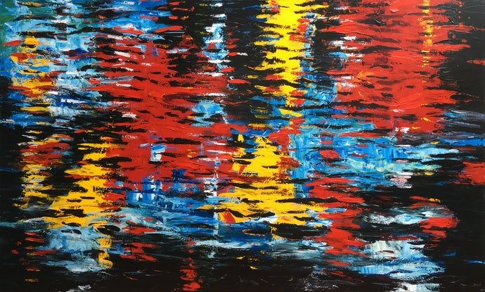 (CreativeWork) River Reflections by Banx aka Mike Banks. Acrylic Paint. Shop online at Bluethumb.