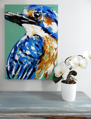 (CreativeWork) Kingfisher's Plunge  by Lisa Fahey. Acrylic Paint. Shop online at Bluethumb.