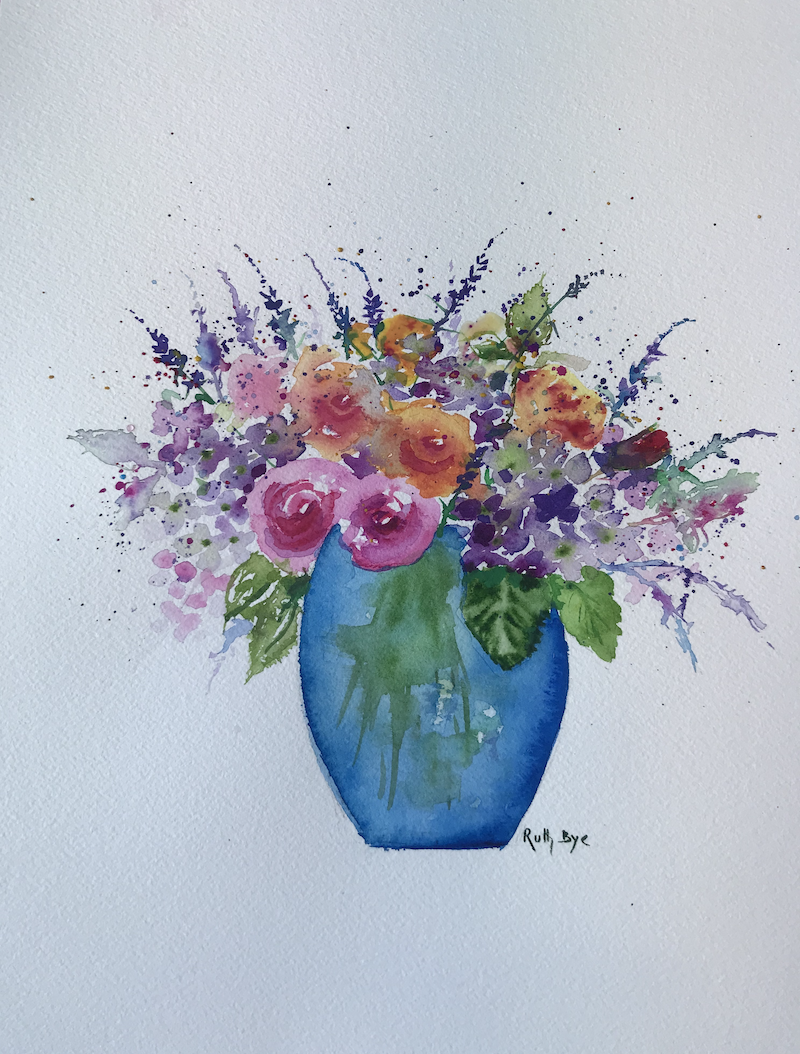 (CreativeWork) High tea bouquet.  by Ruth Bye. Watercolour Paint. Shop online at Bluethumb.