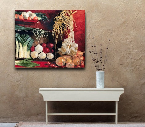 (CreativeWork) Country Kitchen original needlepoint tapestry by Natalie Fisher. Other Media. Shop online at Bluethumb.