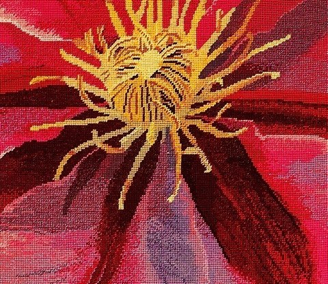 (CreativeWork) 'Clematis' original needlepoint tapestry by Natalie Fisher. Other Media. Shop online at Bluethumb.