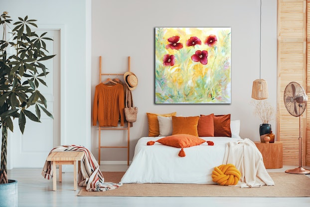 (CreativeWork) Bright Crimson Poppies by Karen Goddard. Oil Paint. Shop online at Bluethumb.