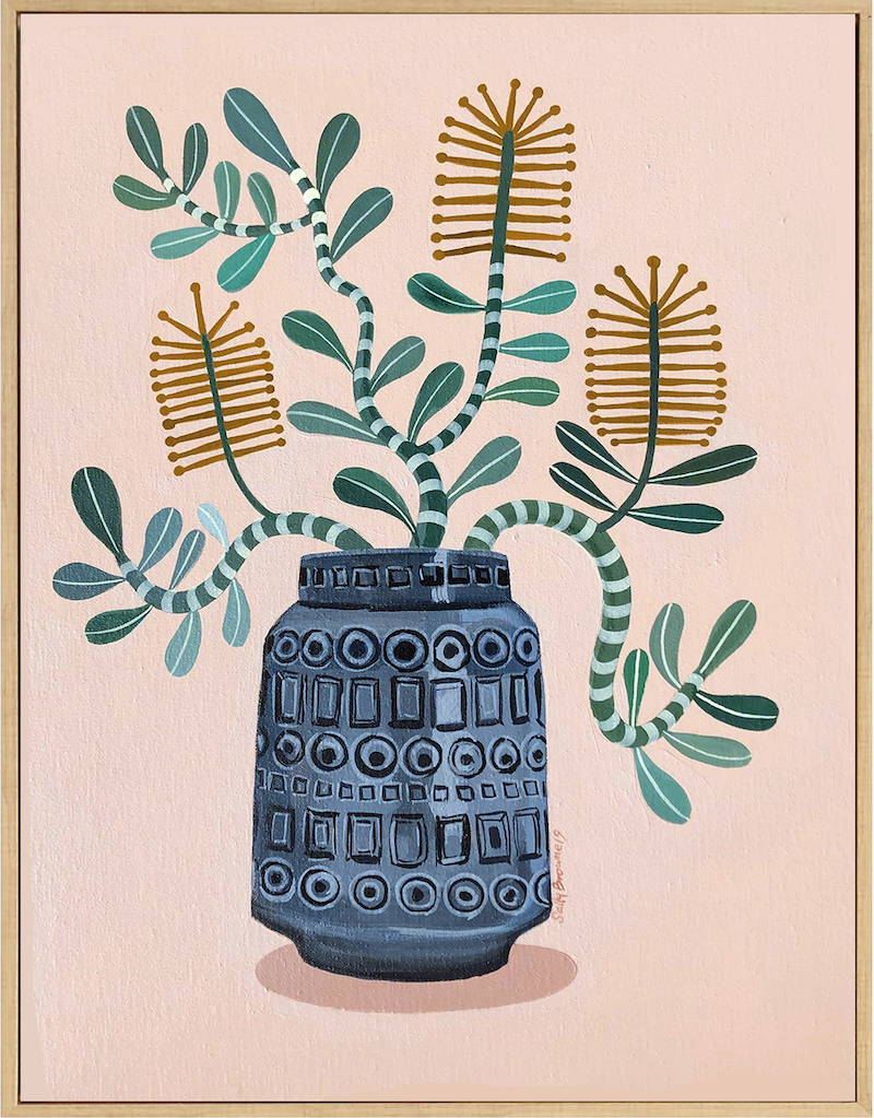 (CreativeWork) Coastal Banksia in Retro Inka Vase by Sally Browne. Acrylic Paint. Shop online at Bluethumb.