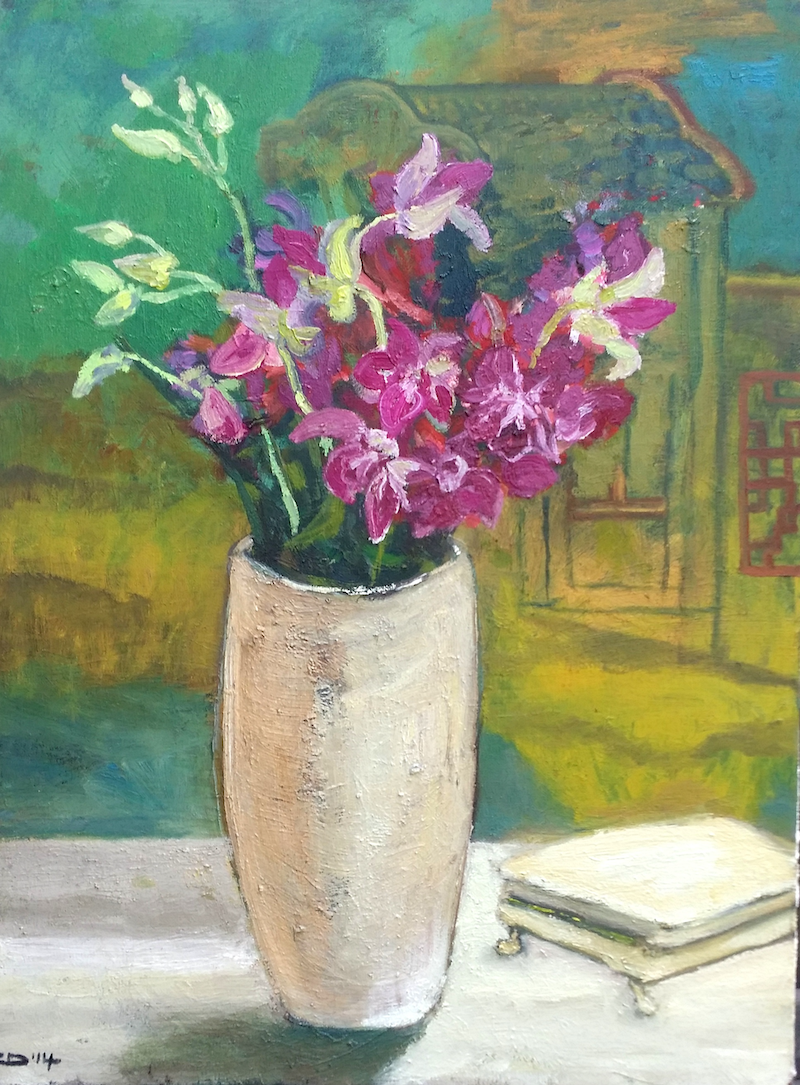 (CreativeWork) Orchids with Chinese Panel by Rosie Dorsett. Oil Paint. Shop online at Bluethumb.