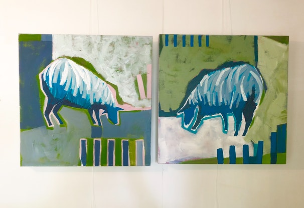 (CreativeWork) 'Ewe and Me' by Margo Carlon. Acrylic Paint. Shop online at Bluethumb.