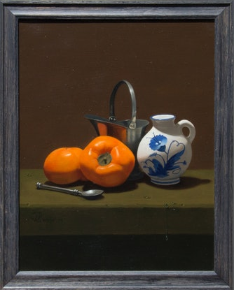 (CreativeWork) Still Life with Persimmons by Michael Memete. Oil Paint. Shop online at Bluethumb.