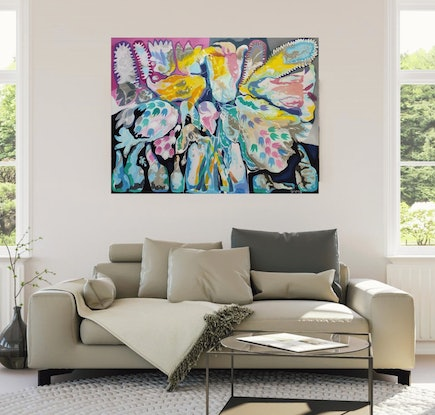 (CreativeWork) Splash of Blossom - original large oil  and acrylic on canvas painting, ready to hang by Yelena Revis. Mixed Media. Shop online at Bluethumb.