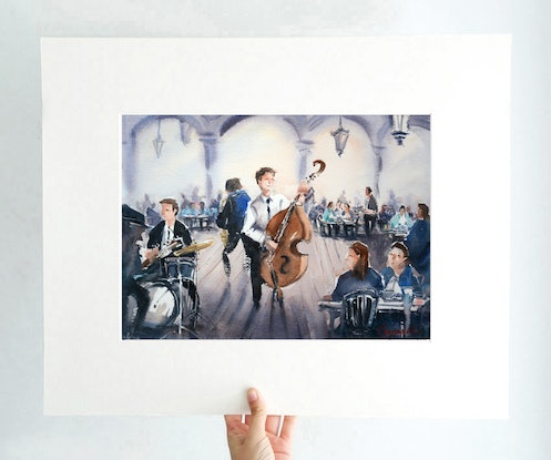 (CreativeWork) An Evening of Jazz Music by Chrysovalantou Mavroudis. Watercolour Paint. Shop online at Bluethumb.