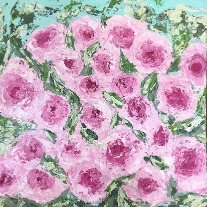 (CreativeWork) Rosie Posie by Kerry Munns. Acrylic Paint. Shop online at Bluethumb.