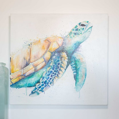 (CreativeWork) Honu by Stephanie Elizabeth. Oil Paint. Shop online at Bluethumb.