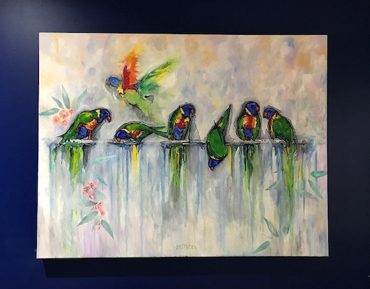 (CreativeWork) Rainbow line by Kirsten Button. Oil Paint. Shop online at Bluethumb.