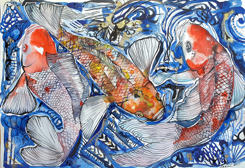 (CreativeWork) Across the pond's surface by Liz H Lovell. Mixed Media. Shop online at Bluethumb.