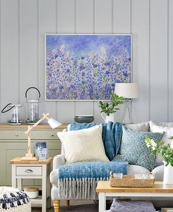 (CreativeWork) Blue Meadow by Alison Ashley. Mixed Media. Shop online at Bluethumb.
