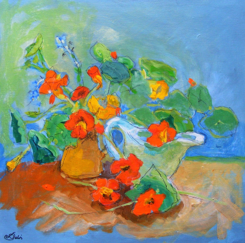 """(CreativeWork) """"Still Life with Nasturtiums"""" by Daniela Selir. Acrylic Paint. Shop online at Bluethumb."""