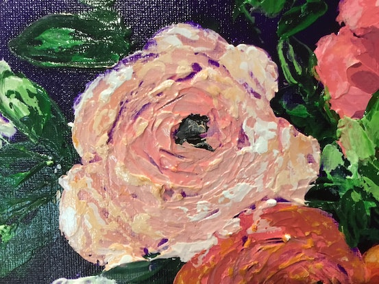 (CreativeWork) Hot Blossom by Kerry Munns. Acrylic Paint. Shop online at Bluethumb.