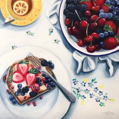 (CreativeWork) Those Sweet Sunday Mornings by Mia Laing. Oil Paint. Shop online at Bluethumb.