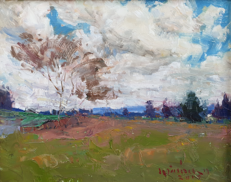 (CreativeWork) Cloudy day in Dayboro  by Minhan Cho. Oil Paint. Shop online at Bluethumb.