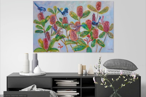 (CreativeWork) Blue fairy wrens and Banksia. by Joanne Scriha. Mixed Media. Shop online at Bluethumb.
