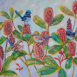 (CreativeWork) Blue fairy wrens and Banksia. by Joanne Scriha. mixed-media. Shop online at Bluethumb.