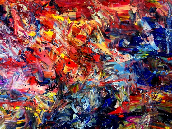 (CreativeWork) Interplay by Estelle Asmodelle. Acrylic Paint. Shop online at Bluethumb.