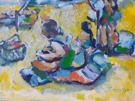 (CreativeWork) Day at the Beach by Graham Borough. Oil Paint. Shop online at Bluethumb.