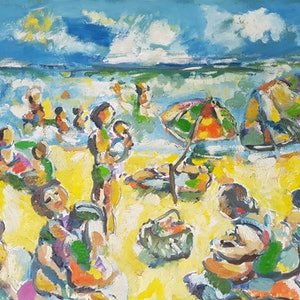 (CreativeWork) Day at the Beach by Graham Borough. oil-painting. Shop online at Bluethumb.