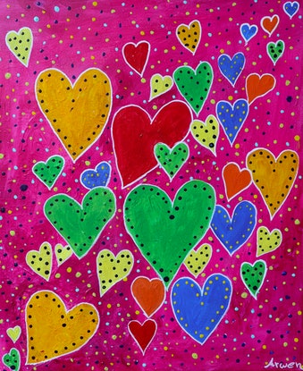 (CreativeWork) My happy heart by Arwen Flanagan. Acrylic Paint. Shop online at Bluethumb.