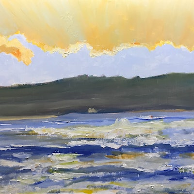 (CreativeWork) Dawn, Greenhills Beach by Geoff Hargraves. oil-painting. Shop online at Bluethumb.