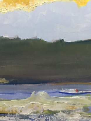 (CreativeWork) Dawn, Greenhills Beach by Geoff Hargraves. Oil Paint. Shop online at Bluethumb.