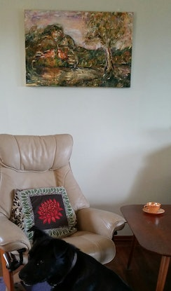 (CreativeWork) Mountain Sized Love by Debra Dougherty. Acrylic Paint. Shop online at Bluethumb.