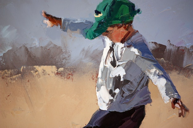 (CreativeWork) 'Ready.....Set......Kick III'   by Claire McCall. Oil Paint. Shop online at Bluethumb.