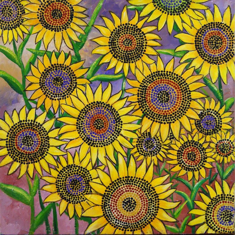 (CreativeWork) Sunflower my World by Corinne Young. Oil Paint. Shop online at Bluethumb.