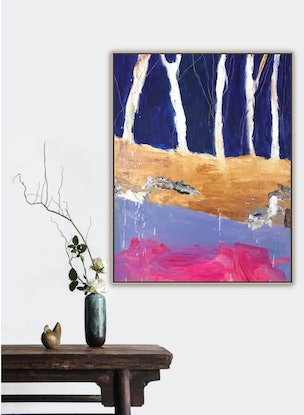 (CreativeWork) Ghost Gums by the Creek by Alexandra Plim. Acrylic Paint. Shop online at Bluethumb.