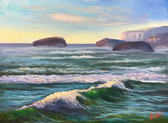 (CreativeWork) Ocean currents near Port Campbell Victoria - Oil on linen board  by Christopher Vidal. Oil Paint. Shop online at Bluethumb.