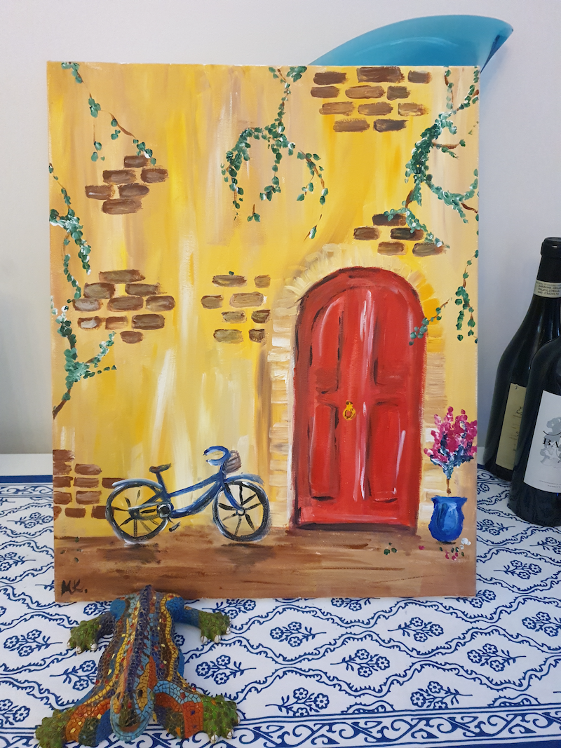 (CreativeWork) Red door by Martina Kostov. Acrylic Paint. Shop online at Bluethumb.