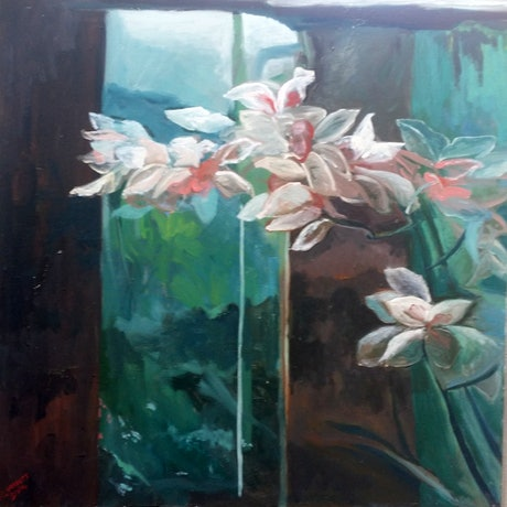 (CreativeWork) Flying Orchids by Rosie Dorsett. Oil Paint. Shop online at Bluethumb.